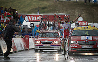 Joaquim Rodriguez (ESP/Katusha) wins his 2nd stage this Tour up the superwet  Plateau de Beille (HC/15.8km/7.9%/1780m)<br /> <br /> <br /> stage 12: Lannemezan - Plateau de Beille (195km)<br /> 2015 Tour de France