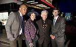 Old cinema reopens after million pound lottery refurb..East Finchley's Phoenix Cinema gala opening night ..Phoenix Trustee Maureen Lipman with Lottery Heritage Chairman Wesley Kerr..Between them is Paul Homer Chief Exec of the cinema.also veteran projectionist Peter Bayley...Picture by Gavin Rodgers/ Pixel 07917221968