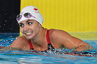 Audery Lacroix of CAN celebrates victory in 200 meter butterfly final during Commonwealth Games Swimming, Monday, July 28, 2014 in Glasgow, United Kingdom. (Mo Khursheed/TFV Media via AP Images)