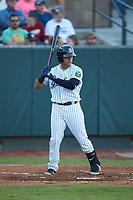 Jesus Bastidas (12) of the Pulaski Yankees at bat against the Burlington Royals at Calfee Park on August 31, 2019 in Pulaski, Virginia. The Yankees defeated the Royals 6-0. (Brian Westerholt/Four Seam Images)