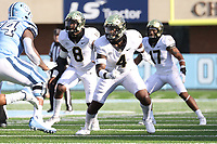 CHAPEL HILL, NC - NOVEMBER 14: Jacorey Johns #4 of Wake Forest rushes the line during a game between Wake Forest and North Carolina at Kenan Memorial Stadium on November 14, 2020 in Chapel Hill, North Carolina.