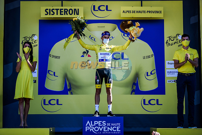 Julian Alaphilippe (FRA) Deceuninck-Quick Step retains the race leaders Yellow Jersey at the end of Stage 3 of Tour de France 2020, running 198km from Nice to Sisteron, France. 31st August 2020.<br /> Picture: ASO/Pauline Ballet | Cyclefile<br /> All photos usage must carry mandatory copyright credit (© Cyclefile | ASO/Pauline Ballet)