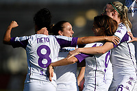 Daniela Sabatino (2R) of ACF Fiorentina celebrates with tem mates after scoring the goal of 0-1 during the women Serie A football match between AS Roma and ACF Fiorentina at Tre Fontane Stadium in Roma (Italy), November 7th, 2020. Photo Andrea Staccioli / Insidefoto