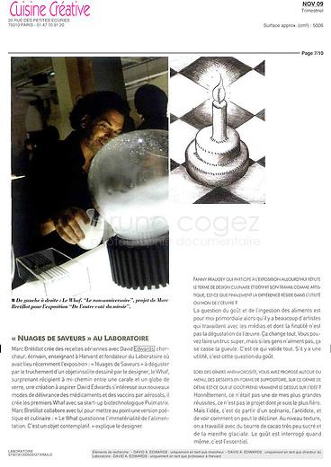 FRANCE, Paris, November 2009..Article about the Whaf in Cuisine Créative French magazine..FRANCE, Paris, Novembre 2009..Article sur e Whaf dans le magazine Cuisine Créative..© Bruno Cogez