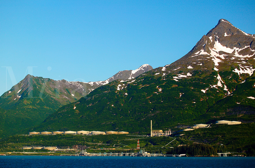 The Trans-Alaska Pipeline Terminal from the Alaska State Ferry Aurora, Prince William Sound, Valdez, Alaska