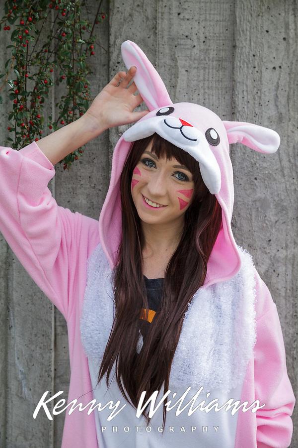 Cute Girl in Pink & White Easter Bunny Rabbit Outfit, Sakura Con, Seattle, WA, USA.