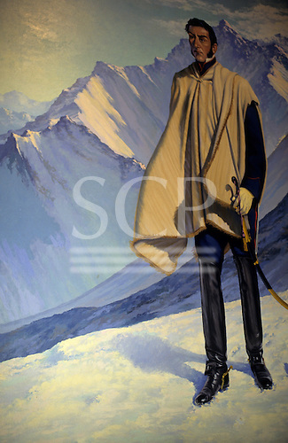 Buenos Aires, Argentina. Painting of San Martin wearing a poncho and long military boots with snow-clad mountains.
