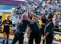 Aug 31, 2018; Clermont, IN, USA; Crew members for NHRA funny car driver Bob Bode during qualifying for the US Nationals at Lucas Oil Raceway. Mandatory Credit: Mark J. Rebilas-USA TODAY Sports