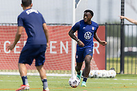 FRISCO, TX - JULY 20: George Bello moves with the ball during a training session at Toyota Soccer Center FC Dallas on July 20, 2021 in Frisco, Texas.