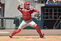Springfield Cardinals catcher Luis Cruz throws to second base during the game against the Northwest Arkansas Naturals at Arvest Ballpark on May 4, 2016 in Springdale, Arkansas.  Springfield won 10-6.  (Dennis Hubbard/Four Seam Images)