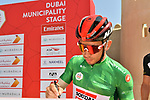 Green Jersey holder Caleb Ewan (AUS) Lotto-Soudal at sign on before Stage 2 the Dubai Municipality Stage of the UAE Tour 2020 running 168km from Hatta to Hatta Dam, Dubai. 24th February 2020.<br /> Picture: LaPresse/Massimo Paolone   Cyclefile<br /> <br /> All photos usage must carry mandatory copyright credit (© Cyclefile   LaPresse/Massimo Paolone)