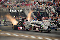 Jun. 19, 2011; Bristol, TN, USA: NHRA top fuel dragster driver Larry Dixon during eliminations at the Thunder Valley Nationals at Bristol Dragway. Mandatory Credit: Mark J. Rebilas-