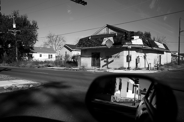 January 30, 2008. New Orleans, LA.. An abandoned store in the devastated Lower 9th Ward.