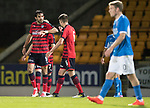 Dave Mackay Testimonial: St Johnstone v Dundee…06.10.17…  McDiarmid Park… <br />Sofien Moussa celebrates his goal<br />Picture by Graeme Hart. <br />Copyright Perthshire Picture Agency<br />Tel: 01738 623350  Mobile: 07990 594431