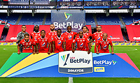 CALI-COLOMBIA, 20-09-2020: Jugadores de America de Cali, posan para una foto, antes de partido entre America de Cali y Atletico Bucaramanga, de la fecha 9 por la Liga BetPlay DIMAYOR I 2020 jugado en el estadio Pascual Guerrero de la ciudad de Cali. / Players of America de Cali, pose for a photo, prior a match between America de Cali and Atletico Bucaramanga, of the 9th date for the BetPlay DIMAYOR I 2020 played at the Pascual Guerrero stadium in Cali city. / Photo: VizzorImage / Nelson Rios / Cont.
