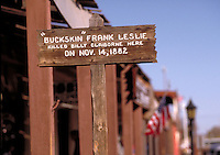 Sign locating site where Frank Leslie killed Billy Claiborne on Nov. 14, 1882, Allen St., Tombstone, AZ. Tombstone Arizona USA.
