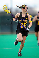 5 April 2008: University at Albany Great Danes' Midfield/Defenseman Sara Wolf, a Junior from Massapequa Park, NY, in action against the University of Vermont Catamounts at Moulton Winder Field, in Burlington, Vermont. With only seconds left in regulation time, the Catamounts rallied to defeat the visiting Danes 11-10 in America East conference play...Mandatory Photo Credit: Ed Wolfstein Photo