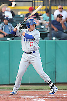 Ryon Healy #27 of the Stockton Ports bats against the Visalia Rawhide at Rawhide Ballpark on May 5, 2014 in Visalia California. Visalia defeated Stockton, 8-6. (Larry Goren/Four Seam Images)