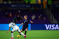 ORLANDO CITY, FL - FEBRUARY 24: Becky Sauerbrunn #4 of the USWNT kicks the ball during a game between Argentina and USWNT at Exploria Stadium on February 24, 2021 in Orlando City, Florida.