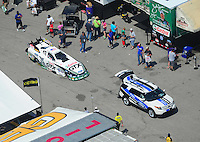 Apr. 28, 2012; Baytown, TX, USA: Aerial view of NHRA funny car driver Mike Neff during qualifying for the Spring Nationals at Royal Purple Raceway. Mandatory Credit: Mark J. Rebilas-