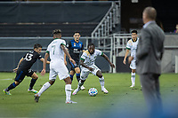 SAN JOSE, CA - SEPTEMBER 16: Paul Marie #33 of the San Jose Earthquakes & Yammi Chara #23 of the Portland Timbers battle for the ball during a game between Portland Timbers and San Jose Earthquakes at Earthquakes Stadium on September 16, 2020 in San Jose, California.