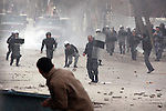 SULAIMANIYAH, IRAQ: Police and protesters throw rocks at each other...A third day of violence rocks the Iraqi Kurdish city of Sulaimaniyah.  Tensions between protesters and security forces flare after the security forces continue to use life ammunition during the demonstrations...Photo by Ali Arcady
