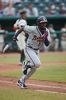 Michael Harris II (24) of the Rome Braves hustles down the first base line against the Greensboro Grasshoppers at First National Bank Field on May 16, 2021 in Greensboro, North Carolina. (Brian Westerholt/Four Seam Images)