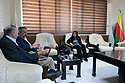 Syria 2019 In Qamishli, Fawza Al Yussef, the co chair of the Executive Body of North Syria Federation giving a interview to journalists   Syrie 2019  A Qamishli, Fawza Al Yussef, co-presidente du Conseil de la Federation du Nord de la Syrie, accordnt une interview a des journalistes