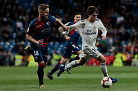 Real Madrid's Alvaro Odriozola and SD Huesca's Jorge Pulido during La Liga match between Real Madrid and SD Huesca at Santiago Bernabeu Stadium in Madrid, Spain. March 31, 2019. (ALTERPHOTOS/A. Perez Meca)<br /> Liga Campionato Spagna 2018/2019<br /> Foto Alterphotos / Insidefoto <br /> ITALY ONLY