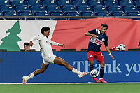 FOXBOROUGH, MA - JULY 23: Colby Quinones #41 of New England Revolution II attempts to control the ball as Kosi Thompson #52 of Toronto FC II defends during a game between Toronto FC II and New England Revolution II at Gillette Stadium on July 23, 2021 in Foxborough, Massachusetts.