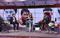 LOS ANGELES, CA - JULY 11: Fox's Heidi Androl interviews Manny Pacquaio and Errol Spence Jr. during a press conference on July 11, 2021 in Los Angeles for their upcoming Fox Sports PBC pay-per-view fight. Pacquaio vs Spence pay-per-view will be on August 21 at T-Mobile Arena in Las Vegas. (Photo by Frank Micelotta/Fox Sports/PictureGroup)