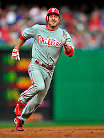 13 April 2009: Philadelphia Phillies' infielder Chase Utley in action during the Washington Nationals' Home Opener at Nationals Park in Washington, DC. The Nats fell short in their 9th inning rally, losing 9-8, as the visiting Phillies handed the Nats their 7th consecutive loss of the 2009 season. Mandatory Credit: Ed Wolfstein Photo