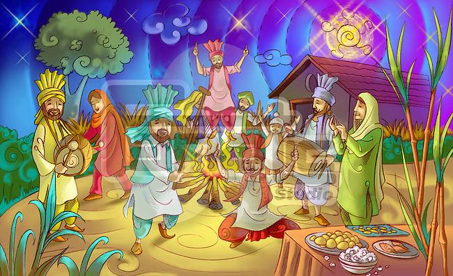 People celebrating Lohri festival