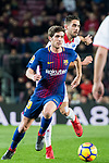 Sergi Roberto Carnicer (L) of FC Barcelona fights for the ball with Ruben Sobrino Pozuelo of Deportivo Alaves during the La Liga 2017-18 match between FC Barcelona and Deportivo Alaves at Camp Nou on 28 January 2018 in Barcelona, Spain. Photo by Vicens Gimenez / Power Sport Images