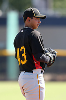Pittsburgh Pirates minor league pitcher Orlando Castro (43) vs. the New York Yankees in an Instructional League game at the New York Yankees Minor League Complex in Tampa, Florida;  October 8, 2010.  Photo By Mike Janes/Four Seam Images