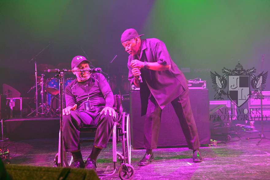 MIAMI BEACH, FLORIDA - JANUARY 18: Vocalist Donnie Calvin and Dwight Hawkes of Rockers Revenge perform on stage at the Fillmore Miami Beach at the Jackie Gleason Theater on January 18, 2020 in Miami Beach, Florida.  ( Photo by Johnny Louis / jlnphotography.com )