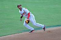 Third baseman Francisco Lindor (12) of the Carolina Mudcats in a game against the Potomac Nationals on Friday, June 21, 2013, at G. Richard Pfitzner Stadium in Woodbridge, Virginia. Lindor was taken by the Cleveland Indians in the first round of the 2011 First-Year Player Draft and is the Indians' No. 1 prospect. Potomac won, 5-1. (Tom Priddy/Four Seam Images)