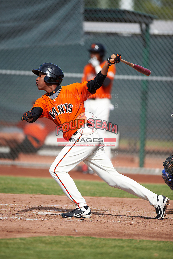 San Francisco Giants minor league outfielder Hector Mercedes #26 during an instructional league game against the Kansas City Royals at the Giants Baseball Complex on October 18, 2012 in Scottsdale, Arizona. (Mike Janes/Four Seam Images)