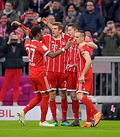 31.03.2018, Football 1. Bundesliga 2017/2018, 28.  match day, FC Bayern Muenchen - Borussia Dortmund, in Allianz-Arena Muenchen. , Robert Lewandowski (2.v.re, FC Bayern Muenchen) and Franck Ribery (FC Bayern Muenchen), Thomas Mueller (FC Bayern Muenchen), David Alaba (FC Bayern Muenchen). *** Local Caption *** © pixathlon<br /> <br /> Contact: +49-40-22 63 02 60 , info@pixathlon.de