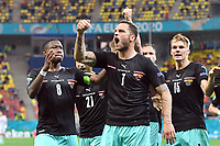Goal celebration after Marko ARNAUTOVIC AUT scored 3 1 , left David ALABA AUT , right Philipp LIENHART AUT , jubilation, joy, enthusiasm, action, group phase, preliminary round group C, match M06, Austria AUT North Macedonia MKD 3 1, on 13 06 2021 in Bucharest,National Arena Football EM 2020 from 11 06 2021 11 07 2021 <br /> Photo imago images/Sven Simon/Insidefoto <br /> <br /> ITALY ONLY