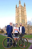 Picture by SWpix.com - 07/03/2018 - Cycling - 2018 OVO Energy Women's Tour Launch - Westminster, London, England - Mick Bennett (SweetSpot), Lizzie Deignan (Boels Dolmans) and Chris Houghton (OVO Energy) pictured at College Green outside the Houses of Parliament to launch the 2018 OVO Energy Women's Tour.