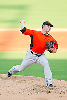 Frederick Keys relief pitcher Tommy Winegardner (10) in action against the Winston-Salem Dash at BB&T Ballpark on May 28, 2013 in Winston-Salem, North Carolina.  The Dash defeated the Keys 17-5 in the first game of a double-header.  (Brian Westerholt/Four Seam Images)
