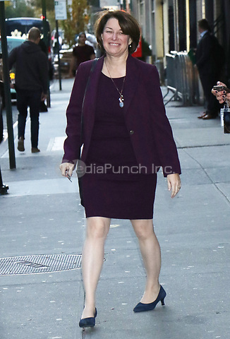 NEW YORK, NY- November 5: Amy Klobuchar at The Late Show with Stephen Colbert promoting her run for President on November 5, 2019 in New York City. Credit: RW/MediaPunch