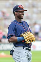Bowling Green Hot Rods outfielder Emilio Gustave (13) warms up in the outfield prior to a Midwest League game against the Wisconsin Timber Rattlers on July 22, 2018 at Fox Cities Stadium in Appleton, Wisconsin. Bowling Green defeated Wisconsin 10-5. (Brad Krause/Four Seam Images)