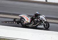 Jul 19, 2020; Clermont, Indiana, USA; NHRA top fuel Harley Davidson nitro motorcycle rider Rickey House during the Summernationals at Lucas Oil Raceway. Mandatory Credit: Mark J. Rebilas-USA TODAY Sports