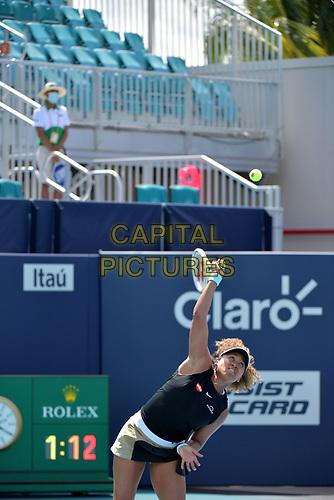 MIAMI GARDENS, FLORIDA - MARCH 26: Naomi Osaka of Japan defeats Ajla Tomljanović of Australia on Day 5 of the 2021 Miami Open on March 26, 2021 in Miami Gardens, Florida<br /> People:  Naomi Osaka <br /> CAP/MPI122<br /> ©MPI122/Capital Pictures