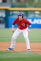 Buffalo Bisons catcher Danny Jansen (9) leads off first base during a game against the Scranton/Wilkes-Barre RailRiders on May 18, 2018 at Coca-Cola Field in Buffalo, New York.  Buffalo defeated Scranton/Wilkes-Barre 5-1.  (Mike Janes/Four Seam Images)