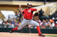 Washington Nationals pitcher Tanner Roark (57) during a Spring Training game against the Detroit Tigers on March 22, 2015 at Joker Marchant Stadium in Lakeland, Florida.  The game ended in a 7-7 tie.  (Mike Janes/Four Seam Images)