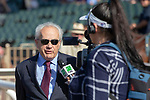 ARCADIA, CA  JUNE 2: Trainer Jerry Hollendorfer is interviewed after #6 Unique Bella, ridden by Mike Smith,  after winning the Beholder Mile (Grade l) on June 2, 2018 at Santa Anita Park in Arcadia, CA. (Photo by Casey Phillips/Eclipse Sportswire/Getty Images)