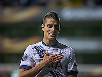 Erik Lamela of Tottenham Hotspur scores the third goal for Spurs & puts his hand on the club badge as he celebrates during the UEFA Europa League match between Tottenham Hotspur and Qarabag FK at White Hart Lane, London, England on 17 September 2015. Photo by Andy Rowland.